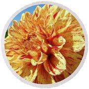 Floral Dahlia Flower Art Print Orange Red Dahlias Baslee Round Beach Towel