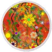 Floral Fantasy 122110 Round Beach Towel
