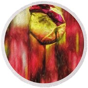 Floral Folds Round Beach Towel