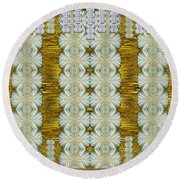Floral Forest Of Magic And Gold Round Beach Towel