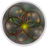 Floral Fractal 11-24-09 Round Beach Towel
