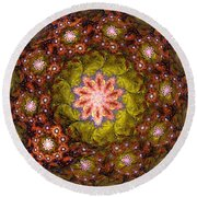 Floral Fractal Wreath  Round Beach Towel