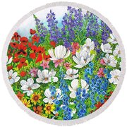Floral Fusion Round Beach Towel