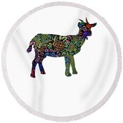 Floral Goat Round Beach Towel