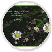 Floral Great Way Quote Round Beach Towel