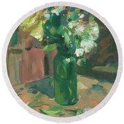 Floral Green Vase Round Beach Towel