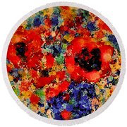Floral Happiness Round Beach Towel
