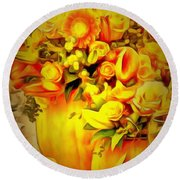 Floral In Ambiance Round Beach Towel