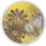 Floral In Gold And Yellow Round Beach Towel