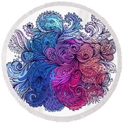 Blue Floral Indian Pattern Round Beach Towel