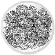 Black And White Floral Indian Pattern Round Beach Towel