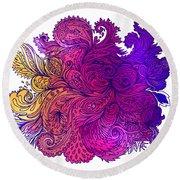 Purple Floral Indian Pattern Round Beach Towel