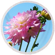 Floral Landscape Art Print Pink Dahlia Flower Blue Sky Canvas Baslee Troutman Round Beach Towel