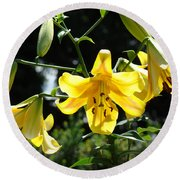 Floral Lilies Art Yellow Lily Flowers Giclee Baslee Troutman Round Beach Towel
