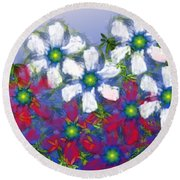 Floral Madness 2 Round Beach Towel