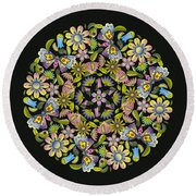 Floral Mandala Pattern Round Beach Towel