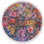 Floral Melody Round Beach Towel