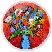 Floral Miniature - Abstract 0115 Round Beach Towel