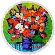Floral Miniature - Abstract 0315 Round Beach Towel