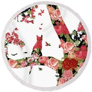 Floral Minimalist Style Cat, Tree And Birds Round Beach Towel