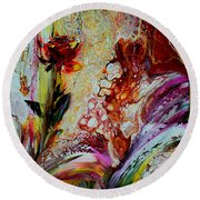 Floral Miracle Round Beach Towel