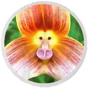 Floral Monkey Pink Yellow And Red Round Beach Towel