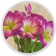Floral Oil Painting Round Beach Towel