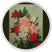 Floral On Green Round Beach Towel