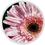 Floral Pink Creative Fragmented In Thick Paint Round Beach Towel