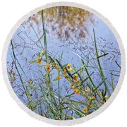 Floral Pond  Round Beach Towel