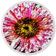Floral Red And White Painting  Round Beach Towel
