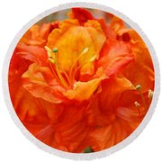 Floral Rhodies Art Prints Orange Rhododendrons Canvas Art Baslee Troutman Round Beach Towel
