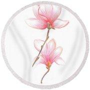 Floral Sketch  Round Beach Towel