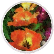 Floral Spring Tulips 2017 Pa 02 Vertical Round Beach Towel