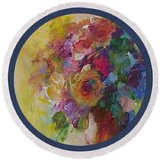 Floral Still Life Round Beach Towel by Mary Wolf