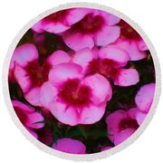 Floral Study In Red And Pink Round Beach Towel