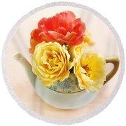 Floral Tea Round Beach Towel