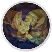 Floral Vortex Round Beach Towel
