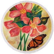 Floral With Butterfly Round Beach Towel