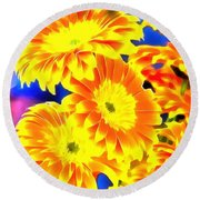 Floral Yellow Painting Lit Round Beach Towel