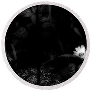 Floral Yellow Peek A Boo Bw Round Beach Towel