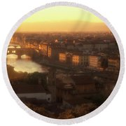 Florence And The Ponte Vecchio Dusk, Tuscany, Italy Round Beach Towel