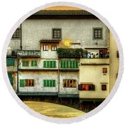 Florence - Boats Under The Ponte Vecchio Sunset - Untextured Round Beach Towel