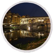 Florence Italy Night Magic - A Glamorous Evening At Ponte Vecchio Round Beach Towel