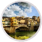 Florence -  Ponte Vecchio From The Northwestern Bank - Vintage Round Beach Towel
