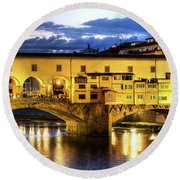 Florence - Ponte Vecchio Sunset From The Oltrarno Round Beach Towel