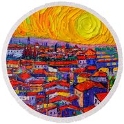 Florence Sunset 10 Modern Impressionist Abstract City Knife Oil Painting Ana Maria Edulescu Round Beach Towel