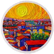 Florence Sunset 12 Round Beach Towel