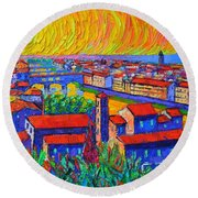Florence Sunset 4 Modern Impressionist Abstract City Impasto Knife Oil Painting Ana Maria Edulescu Round Beach Towel