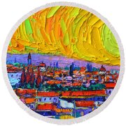 Florence Sunset 5 Modern Impressionist Abstract City Impasto Knife Oil Painting Ana Maria Edulescu Round Beach Towel